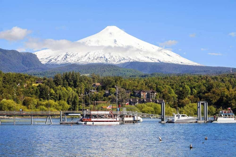 Snow Covered Volcano Villarica, Chile