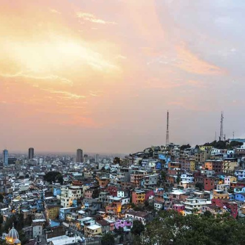 Panoramic Photo Of Guayaquil City At Sunset, Ecuador, South America
