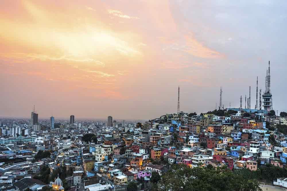 Panoramic Photo Of Guayaquil City At Sunset, Ecuador, South America