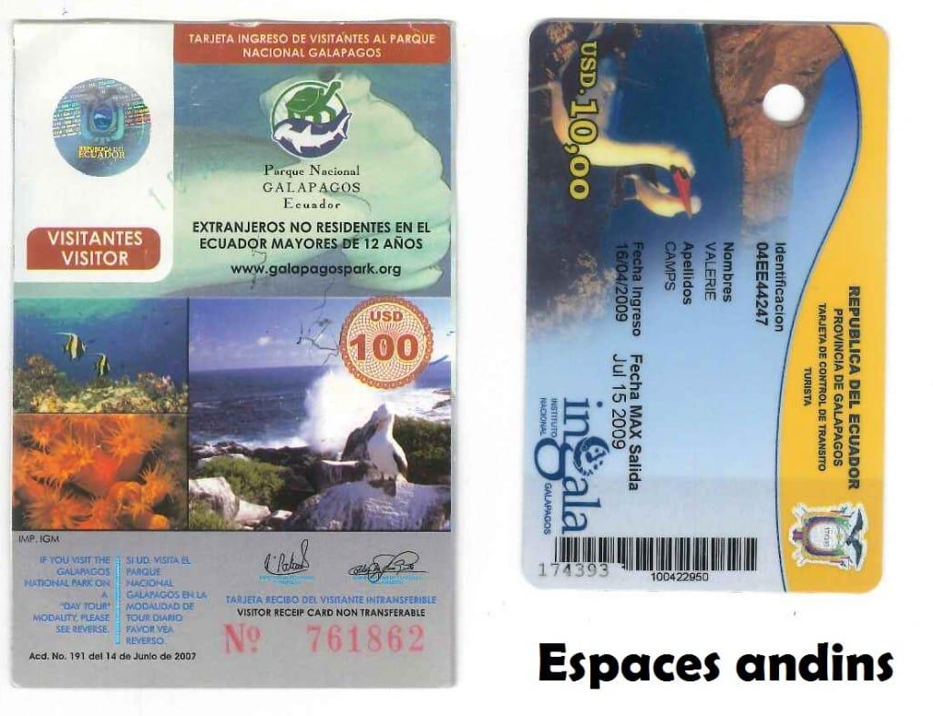 Formalites entrée iles Galapagos