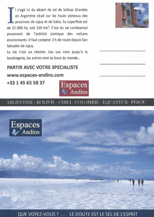 Carte postale Espaces andins