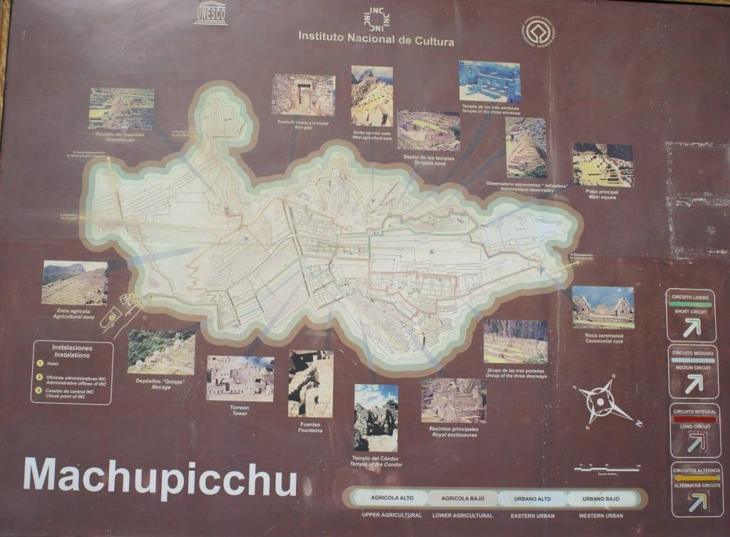 Plan du site Machu Picchu, Perou