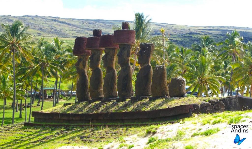 Les 7 moaï de la plage d'Anakena  / Photo : Espaces Andins