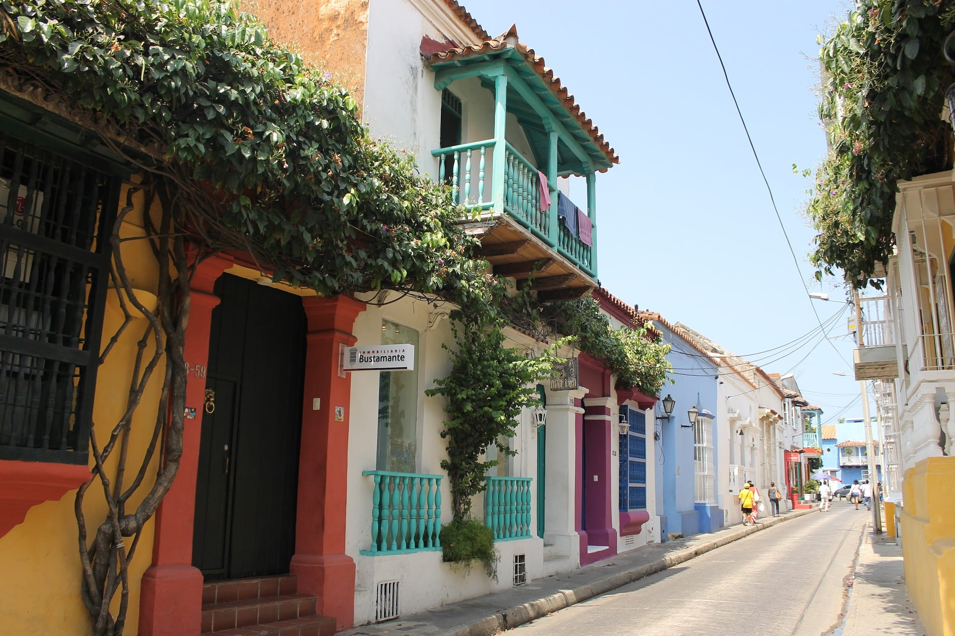 Rue Colorée De Carthagène Des Indes