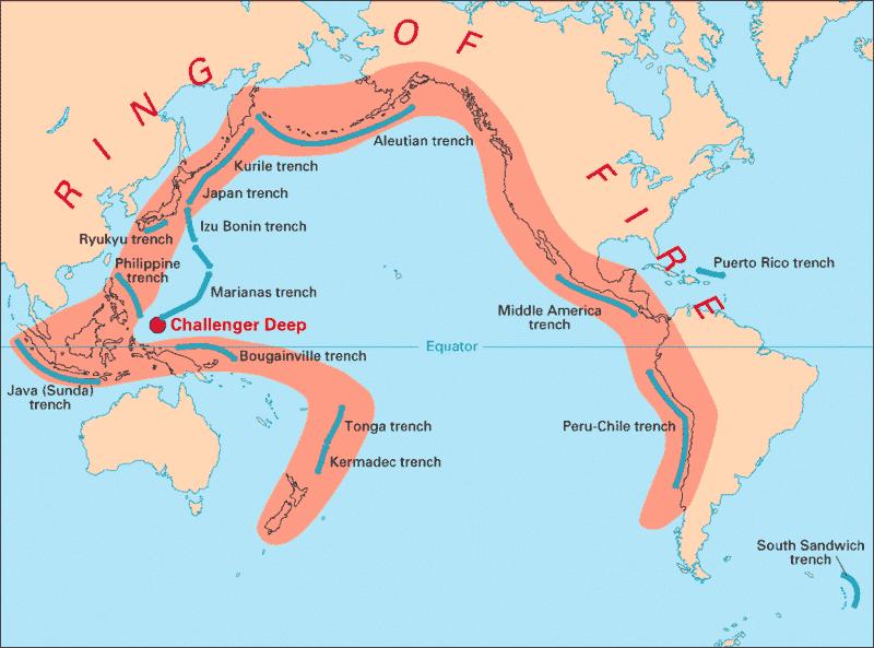 La ceinture de feu du Pacifique / Photo : Wikipedia