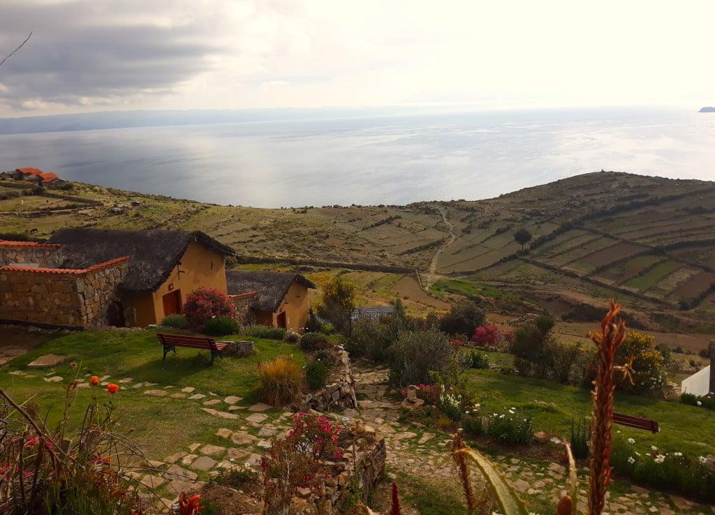 Hotel éco-responsable Isla del Sol, avec vue sur le Lac Titicaca. Photo : Espaces Andins