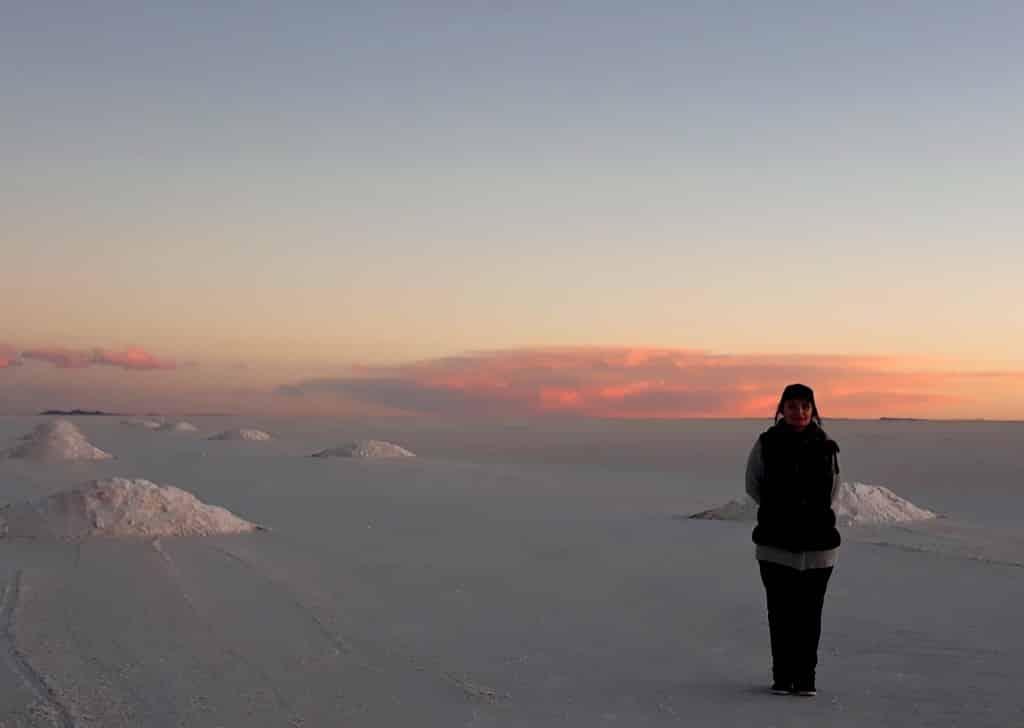Le coucher de soleil au Salar d'Uyuni  Photo : Espaces Andins