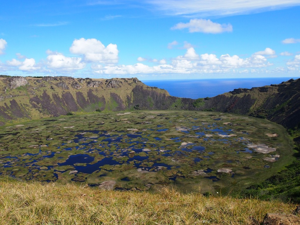 ile de pâques, cratère Rano Kau, Chili